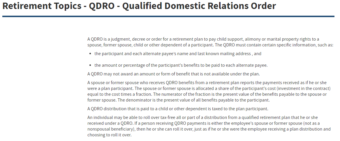 The IRS and In Marriage QDRO