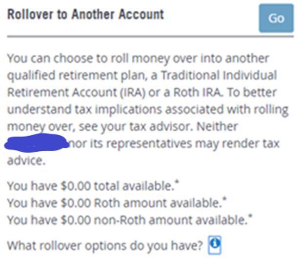 The Rollover to Another Account keeps track of the amount you have available to convert via the Mega Backdoor Roth conversion